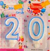 Yirmi 20 Yaş Erkek Pasta Mumu Mavi Renk