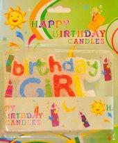 Birthday Girl Yazan Karışık Renk Kız Bayan Pasta Mumu