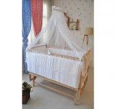 Bebekonfor Beyaz Fransız Dantelli Doğal Ahsap Bebek Karyolası