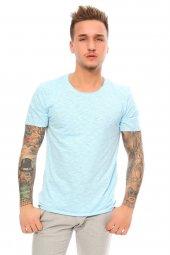 Kendinden Desenli Basic Açık Mavi Erkek T Shirt