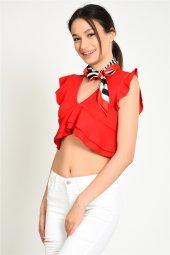 Kolları Volanlı Kırmızı Kadın Bluz