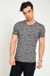 Kendinden Şal Desenli Siyah Erkek T Shirt
