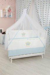 Bebekonfor Mavi Taçlı Uyku Seti İle Beyaz Karyola Bebek Beşiği