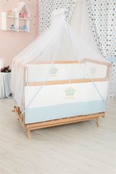 Bebekonfor Mavi Tacli Uyku Seti İle Dogal Karyola Bebek Besigi