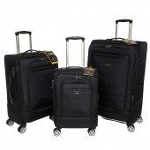 Nk 3 Lü Valiz Seti Hafif Kumaş Bavul Siyah 021
