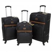 Nk 3 Lü Valiz Seti Hafif Kumaş Bavul Siyah 037