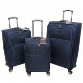 Nk 3 Lü Valiz Seti Hafif Kumaş Bavul Lacivert 020