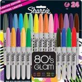 Sharpie Permanent Marker Kalem Fine Uç 24 Renk Set 80 S Glam