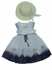 Tomurcuk Bebe Kız Çocuk Çiçekli Şapkalı Elbise