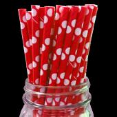 Puantiyeli Kağıt Pipet Kırmızı