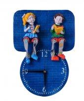 çocuk Biblo Figürlü Kabartma El Yapımı Dekoratif Duvar Saati