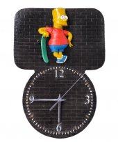 Kabartma Simpsons Figürlü El Yapımı Dekoratif Duvar Saati