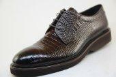 7963 Kahverengi Kroko Baskılı Hakiki Deri Eva Tabanlı Ayakkabı