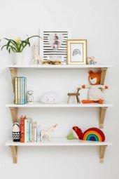 Ceebebek Ahşap Bebek Çocuk Odası Duvar Rafı Kitaplık Beyaz Montessori Raf Üç Adet