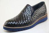 8958 Lacivert El Örgüsü Hakiki Deriden Makosen Model Eva Taban Ayakkabı