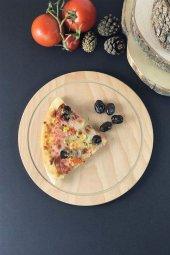 Ahşap Yuvarlak Pizza Tabağı 24 Cm
