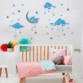 Dekor Loft Uyuyan Ayıcık Çocuk Odası Duvar Sticker Cs 621 Mavi