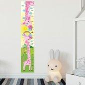 Dekorloft Anne Ve Yavru Zürafa Boy Ölçer Sticker Dbc3 Pembe