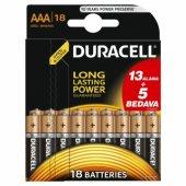 Duracell Alkalin Aaa (13+5) 18li Pil (İnce Pil)