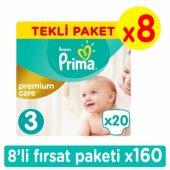 Prima Premium Care Midi Bebek Bezi 3 Beden Fırsat Paketi 160 Adet