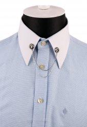 Gümüş Renk Taşlı Zincirli Gömlek Yaka İğnesi Gı140