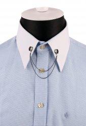 Gümüş Renk Kırmızı Taşlı Zincirli Gömlek Yaka İğnesi Gı144