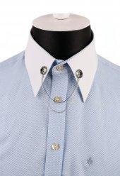 Gümüş Renk Kahve Taşlı Zincirli Gömlek Yaka İğnesi Gı147