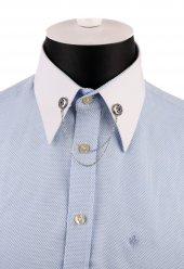 Gümüş Renk Mavi Taşlı Zincirli Gömlek Yaka İğnesi Gı161