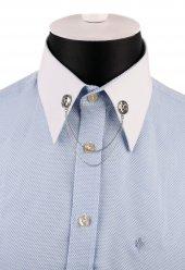 Gümüş Renk Beyaz Taşlı Zincirli Gömlek Yaka İğnesi Gı162