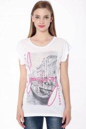 Baskılı Bayan T Shirt Beyaz 0234