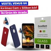 Jopus Vestel Venus V4 Kılıf Kırılmaz Cam Ekran Koruyucu