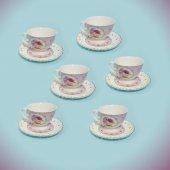 Dantelli Porselen 6 Kişilik Delikli Çay Kahve Fincan Takımı Seti