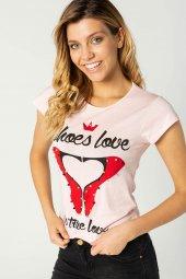 Baskılı Bayan T Shirt Pembe 0279