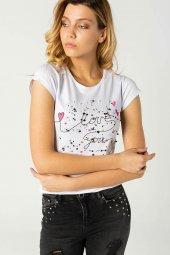Baskılı Bayan T Shirt Beyaz 0280
