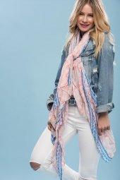 Pudra Renk Clariss Marka Pamuklu Kumaş Trend Bayan Şal