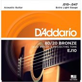 Daddario Ej10 Akustik Gitar Tel Seti,80 20 Extra Lıght 10 47