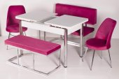 Mutfak Masa Takımı Banklı Açılır Camlı Yemek Masası