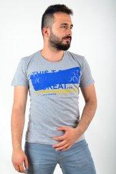Mavi Desen Baskılı Gri Tshirt