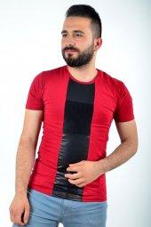 şerit Baskılı Kırmızı Tshirt