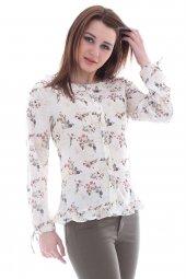 çiçek Desenli Haki Bluz