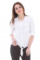 önden Bağlamalı Beyaz Gömlek