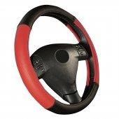 Otom Deri Direksiyon Kılıfı Kırmızı Siyah G101 38 39 Cm