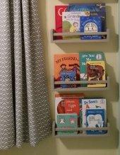 Ceebebek Ahşap Duvar Raf Bebek Çocuk Odası Montessori Gri Kitaplık 3grı40 Ücretsiz Kargo