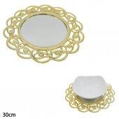Lüks Metalize Aynalı Supla Gold 30cm