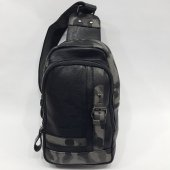 Kamuflaj Karışımlı Emitasyon Deri Body Bag Erkek Ç...