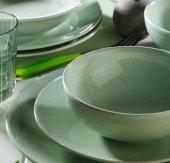 Kütahya Naturaceram Harlek Granül 24 Prç Yeşil Yemek Seti