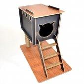 Indigo Kedi Evi Kulübesi Merdivenli Ve Tırmalamalı