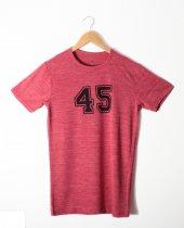 Erkek 45 Logo Baskılı Bordo Tişört