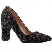Ayakland 311 Siyah 9 Cm Kalın Topuk Simli Bayan Stiletto Ayakkabı