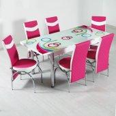 Evform Roma 6 Kişilik Mutfak Masası Takımı Yemek Seti Fuşya